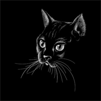 Kot do projektowania tatuażu lub t-shirtów lub odzieży wierzchniej. kot ślicznego stylu