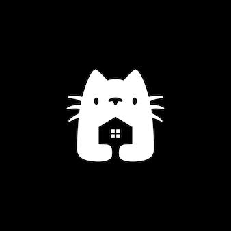 Kot dom negatywnej przestrzeni logo wektor ikona ilustracja