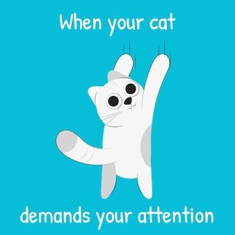 Kot domagający się uwagi mema