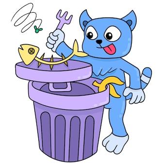 Kot domowy, ciesząc się swoim jedzeniem ryb odpadów sampah, ilustracji wektorowych sztuki. doodle ikona obrazu kawaii.