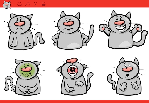 Kot emocje kreskówka ilustracja zestaw
