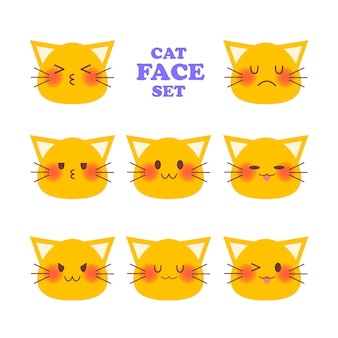 Kot emocjonalny twarz set. płaska ilustracja.