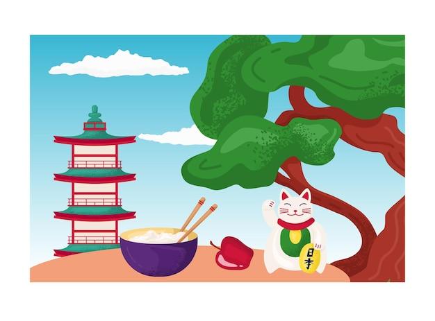 Kot feng shui machający łapą