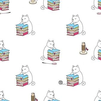 Kot figlarki książki zabawki kreskówki bezszwowa deseniowa ilustracja