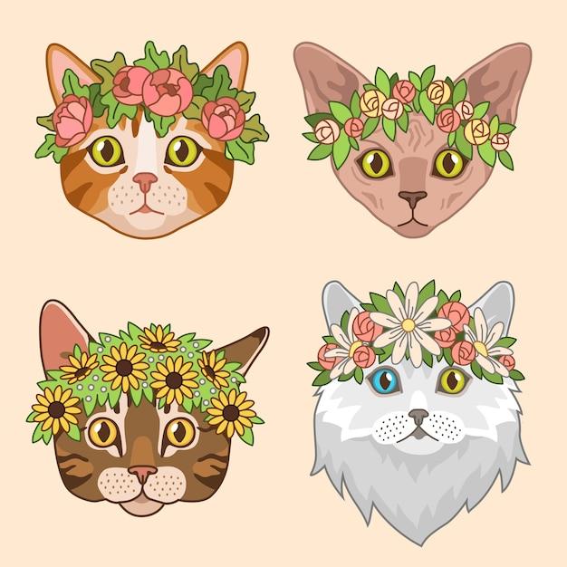Kot głowy z koroną kwiatów