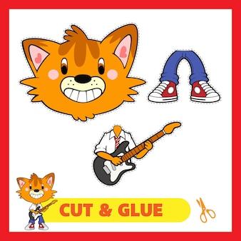 Kot gra na gitarze wytnij i klej