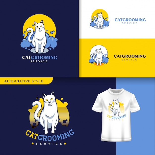 Kot grooming szablon logo sklepu zoologicznego