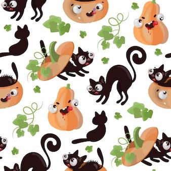 Kot halloween dynia płaska konstrukcja jednolity wzór śmieszne kreskówki ręcznie rysowane ilustracja