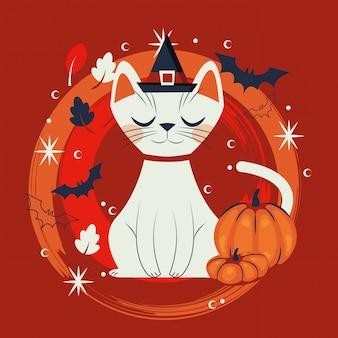 Kot halloween w przebraniu postaci czarownicy