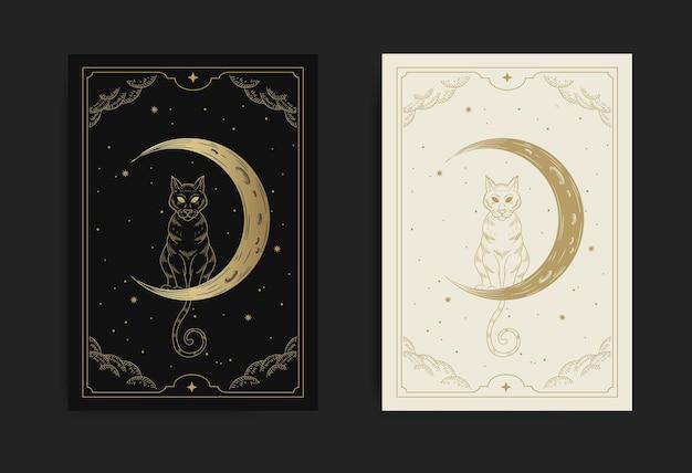 Kot i sierp księżyca na rozgwieżdżonym nocnym niebie