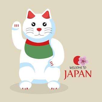 Kot ikona kreskówka tradycyjna kultura japonii