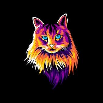 Kot ilustracja kolorowy wzór wektor