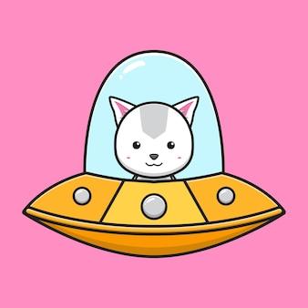Kot jazdy ufo kreskówka ikona ilustracja wektorowa. zaprojektuj na białym tle płaski styl kreskówki