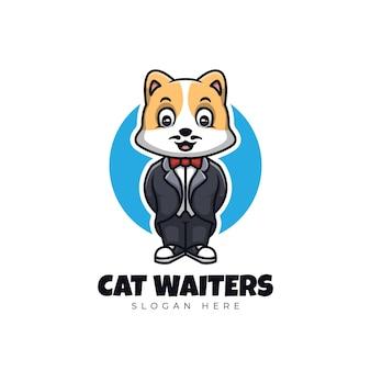 Kot kelnerzy kreskówka maskotka ilustracja logo słodkie