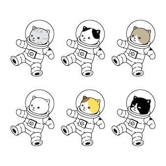 Kot kotek ikona kombinezon kosmiczny kreskówka dla zwierząt