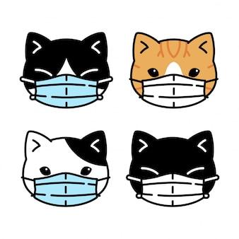 Kot kotek maska na twarz coronavirus covid-19 kreskówka