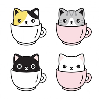 Kot kreskówka kot filiżanka kawy