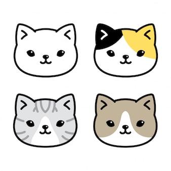 Kot kreskówka kotek perkal głowa twarz postać
