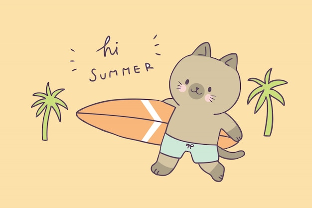 Kot kreskówka lato ładny i surfing wektor.
