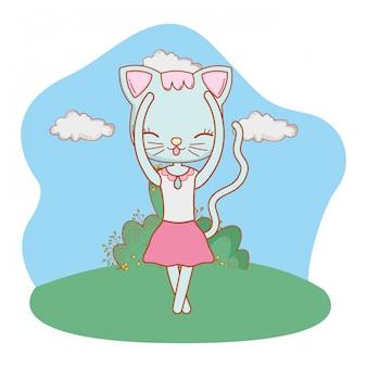 Kot kreskówka na zewnątrz