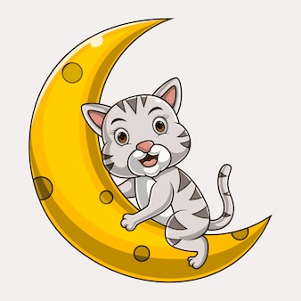 Kot kreskówka siedzi na księżycu