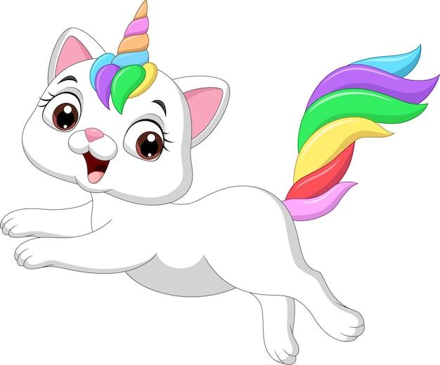 Kot kreskówka śmieszne jednorożca skoki