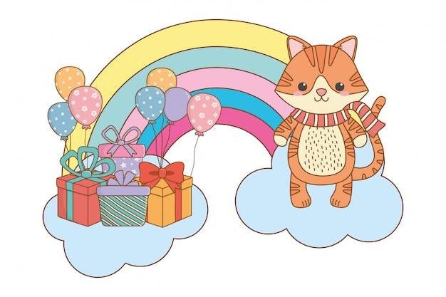 Kot kreskówka z szalikiem