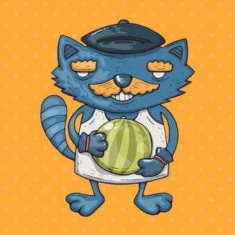 Kot kreskówka z wąsem posiada arbuza. kreskówki ilustracja w komicznym modnym stylu.