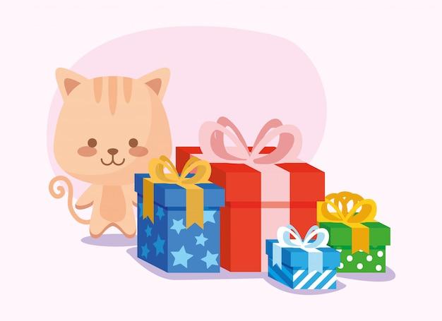 Kot kreskówka z wszystkiego najlepszego z okazji urodzin