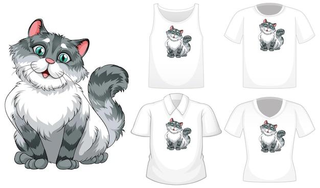 Kot kreskówka z zestawem różnych koszul na białym tle