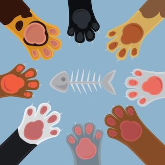 Kot kreskówka zestaw łapy i kości ryb