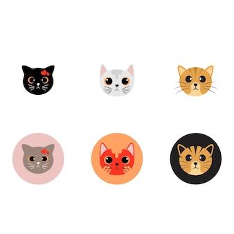 Kot ładny głowa logo grafika wektorowa