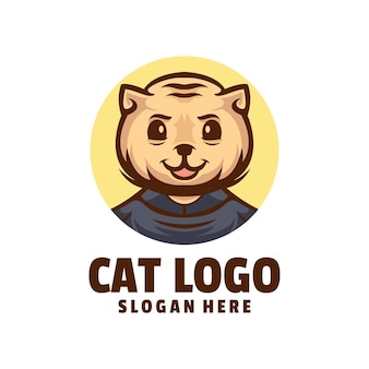 Kot ładny wektor projektowania logo