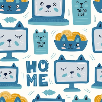 Kot laptopa niebieski wzór