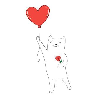 Kot latający na balonie w kształcie czerwonego serca słodki kot kreskówka walentynki pozdrowienia