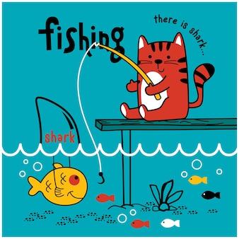 Kot łowiący ryby w jeziorze zabawna kreskówka zwierzęca