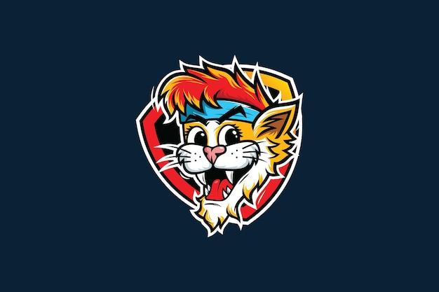 Kot maskotka z logo esport