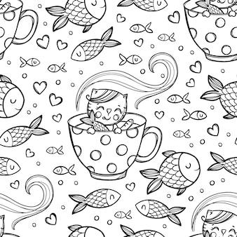 Kot miłość ryby słodki kitten złapał rybę w kubku z gorącym napojem wśród. kreskówka ręcznie rysowane monochromatyczny szkic wzór