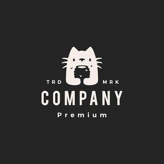 Kot miód ula pszczoła hipster vintage logo wektor ikona ilustracja