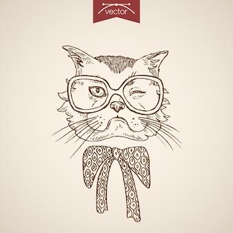 Kot mruga głową w stylu hipster człowieka jak akcesoria do ubrań w okularach projekt szalika.