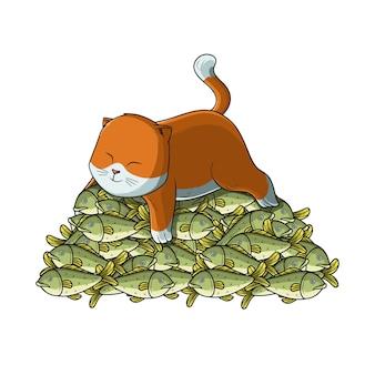 Kot na górze ryb