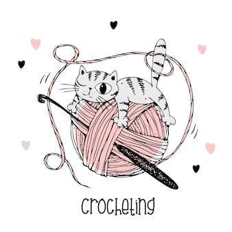 Kot na kłębku przędzy. szydełkowe logo. wektor