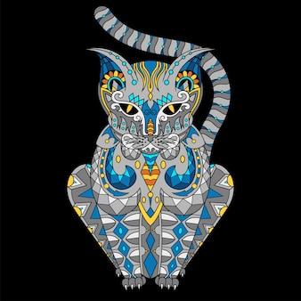 Kot narysowany w stylu zentangle