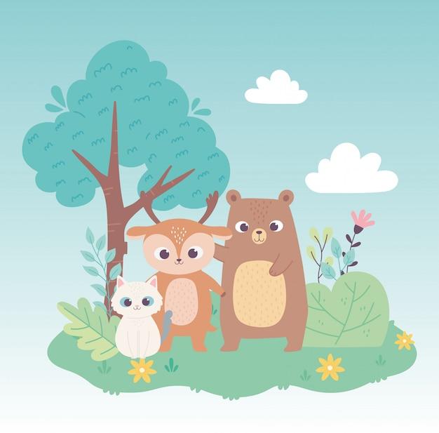 Kot niedźwiedź mały jeleń zwierzęta leśne kwiaty drzewo kreskówka