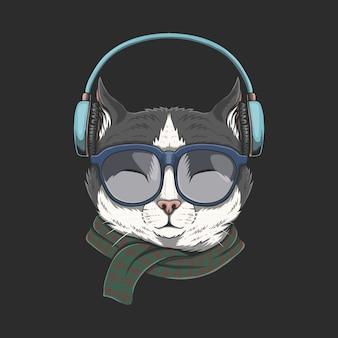 Kot nosi słuchawki ilustracji