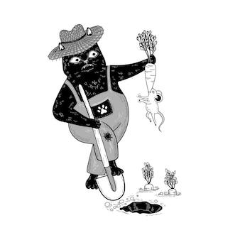 Kot ogrodnik z łopatą zabawna mysz gryzie marchewki śliczna ilustracja ogrodnicza