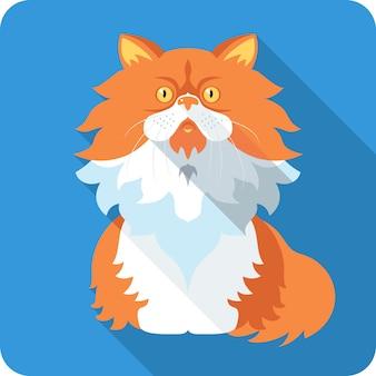 Kot perski ikona płaska konstrukcja
