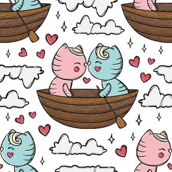 Kot pocałunek na łodzi i unoszący się ze swoją ukochaną wśród chmur. walentynki kreskówka ręcznie rysowane wzór