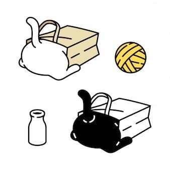 Kot postać kotek perkal bawełniana torba papierowa przędza piłka butelka mleka kreskówka