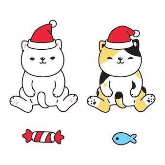 Kot postać kotek perkal boże narodzenie święty mikołaj kapelusz kreskówka